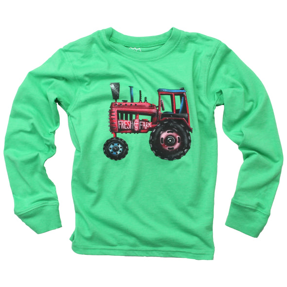 Wes & Willy Boy's Tractor Tee-Green