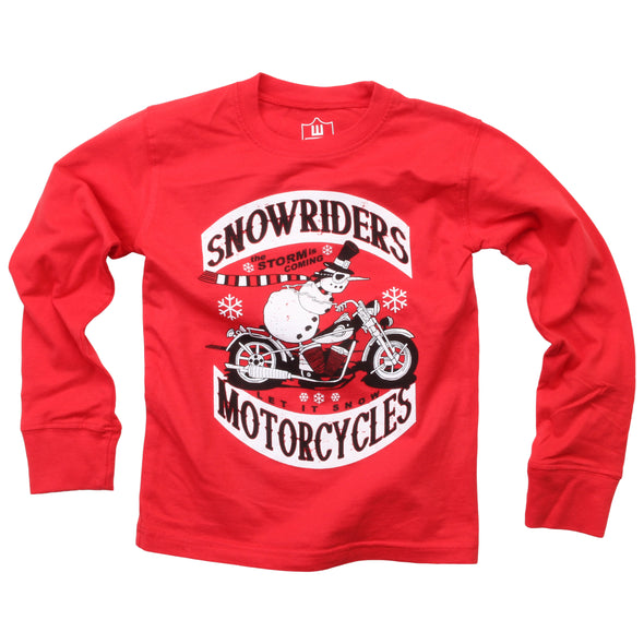 Wes & Willy Boy's Snowriders LS Tee-Red