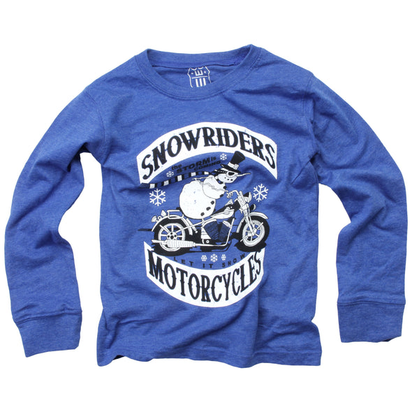 Wes & Willy Boy's Snowriders LS Tee-Blue