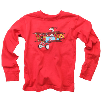 Wes & Willy Boy's Pilot Dog LS Tee-Red