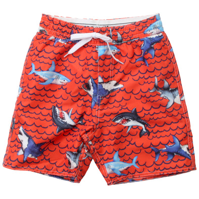 Wes & Willy Boy's Shark Waves Swim Trunk