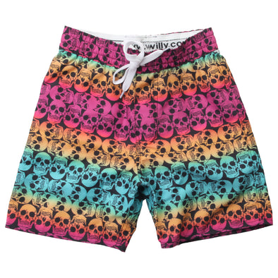 Wes & Willy Boy's Ombre Skull Swim Trunks