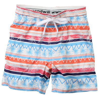 Wes & Willy Boy's Palm Stripe Swim Trunks