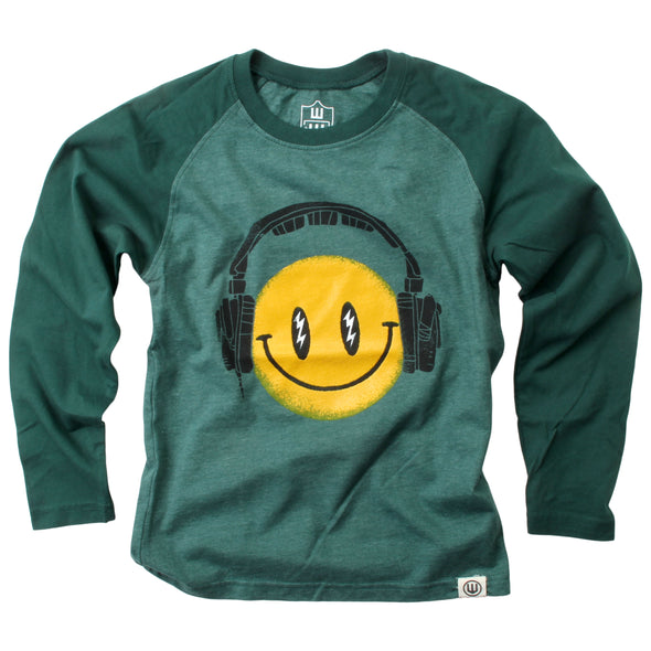 Wes and Willy Boy's Smiley Face Headphones LS Tee