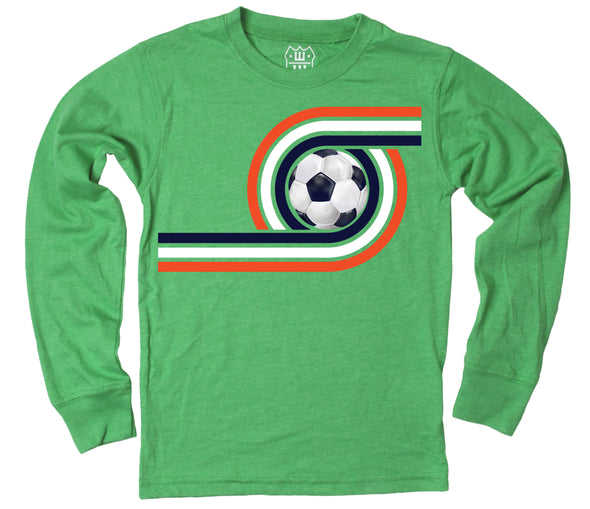 Wes and Willy Boy's Retro Soccer Long Sleeve Tee