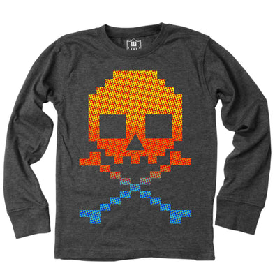 Wes and Willy Boy's Retro Skull LS Tee