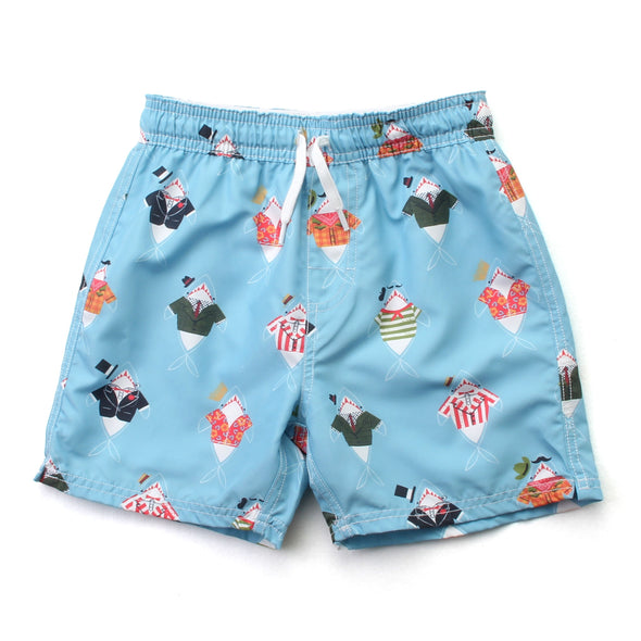 Wes and Willy Dressed Up Shark Swim Trunks