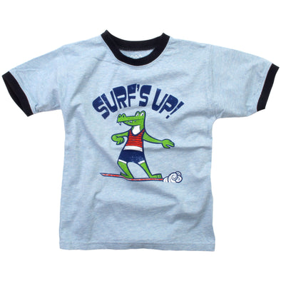Wes  and Willy Boy's Alligator Surf Short Sleeve Ringer
