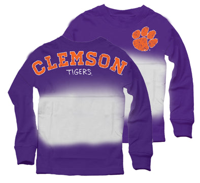 Wes & Willy Clemson Tigers Girl's Dip Dyed Spirit Tee-Purple