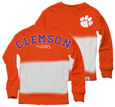 Wes & Willy Clemson Tigers Girl's Dip Dyed Spirit Tee-Orange
