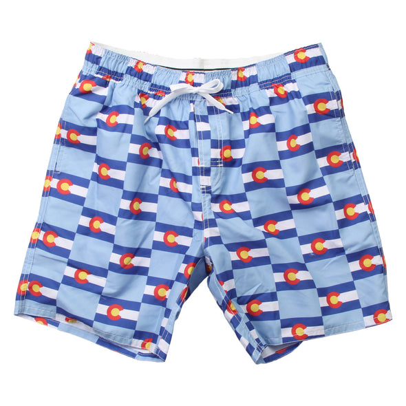 Wes & Willy Men's Allover Print Colorado Flag Swim Trunk
