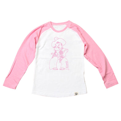 Wes & Willy Oklahoma State Cowboys Girl's Pink Raglan