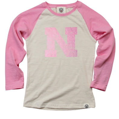 Wes & Willy Girl's Nebraska Cornhuskers Foil Raglan