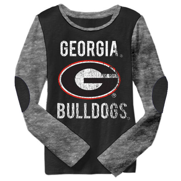 Wes & Willy Georgia Bulldogs Girl's Elbow Patch Tee