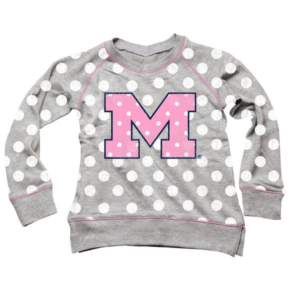 Wes & Willy Michigan Wolverines Girl's Polka Dot Sweatshirt