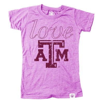 Wes & Willy Texas A&M Aggies Girl's Love SS Tee