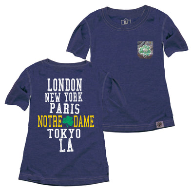 Wes & Willy Notre Dame Fighting Irish Girls Sparkle Pocket Tee