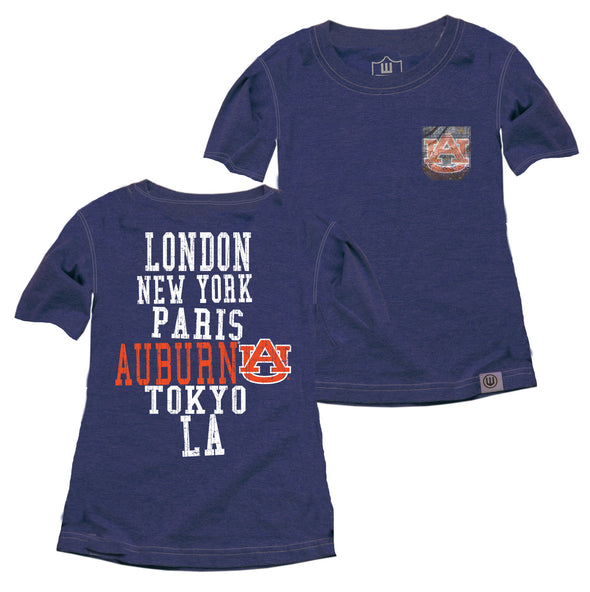 Wes & Willy Auburn Tigers Girl's Sparkle Pocket Tee