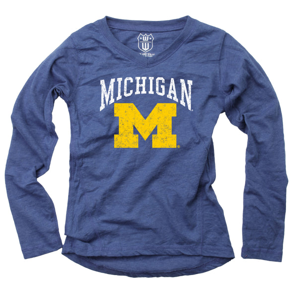 Wes & Willy Michigan Wolverines Girl's Blend Slub Tunic
