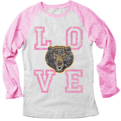 Wes & Willy Baylor Bears Girl's Pink Raglan