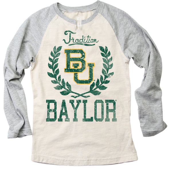 Wes & Willy Baylor Bears Girl's V-Neck Raglan