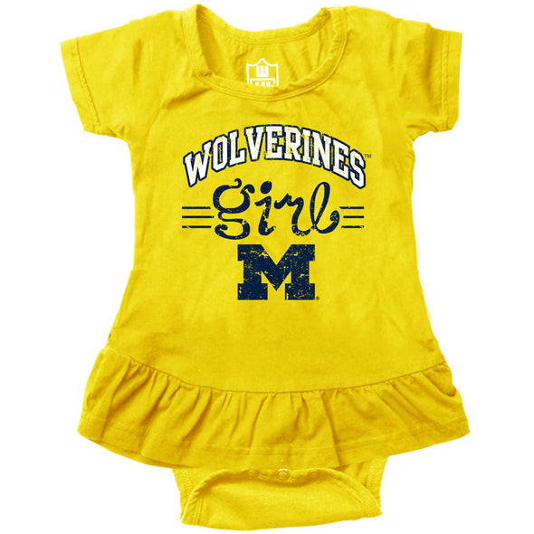 Wes & Willy Michigan Wolverines Girl's Ruffle Bodysuit