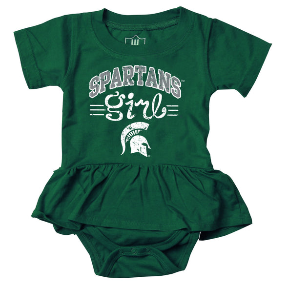 Wes & Willy Michigan State Spartans Girl's Ruffle Bodysuit