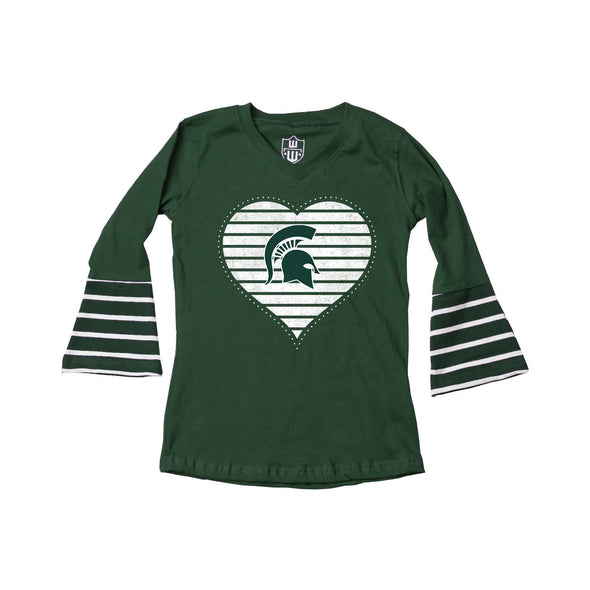 Wes & Willy Michigan State Spartans Girl's Bell Sleeve Top