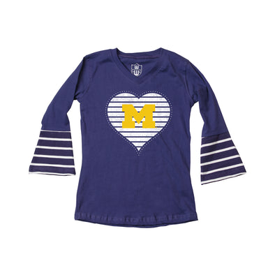 Wes & Willy Michigan Wolverines Girl's Bell Sleeve Top