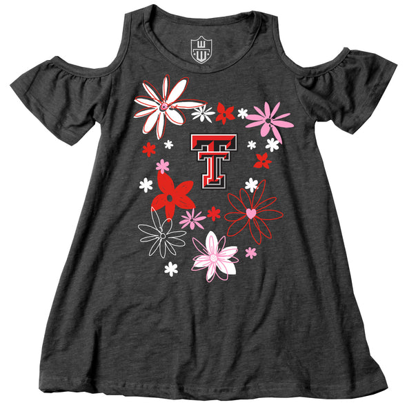 Wes & Willy Texas Tech Red Raiders Girl's Cold Shoulder Crew