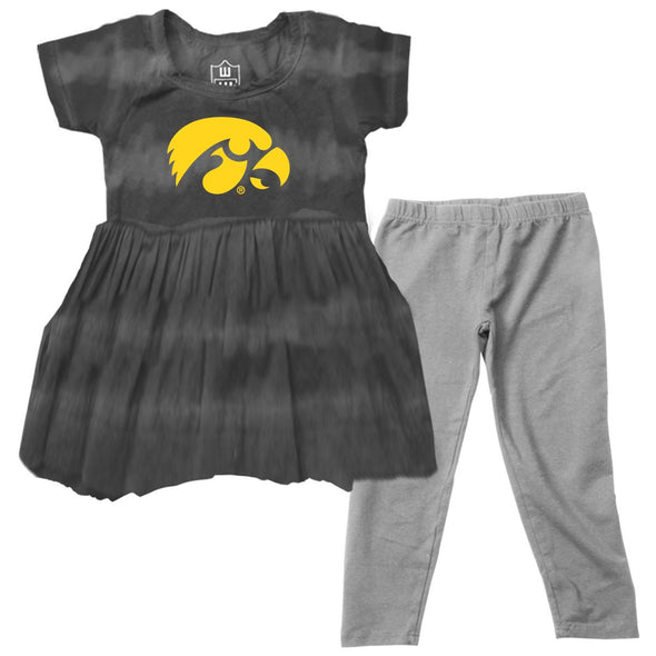 Wes & Willy Iowa Hawkeyes Girl's Tie Dye Dress Set