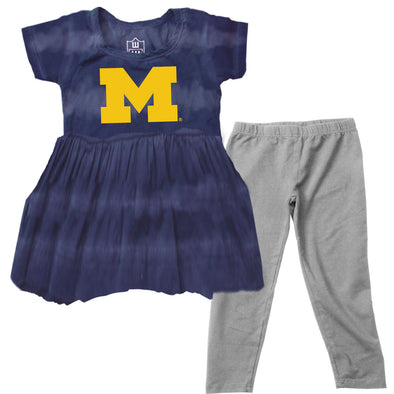 Wes & Willy Michigan Wolverines Girl's Tie Dye Dress Set