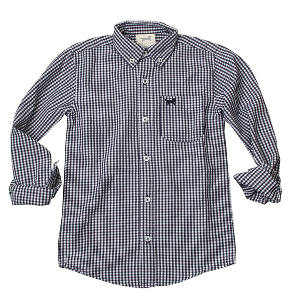 Wes & Willy Mini Gingham Long Sleeve Shirt/Navy