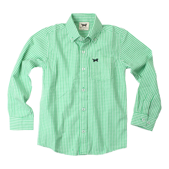 Wes & Willy Mini Gingham Long Sleeve Shirt/Green