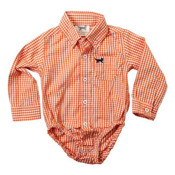 Wes & Willy Mini Gingham Long Sleeve Bodysuit /Orange