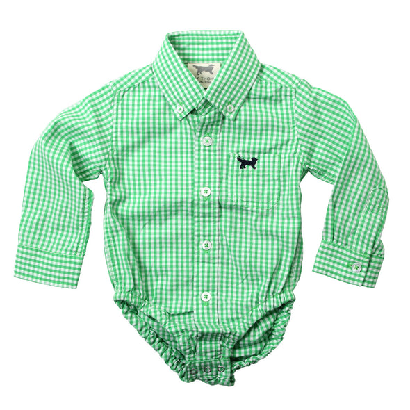 Wes & Willy Mini Gingham Long Sleeve Bodysuit / Green