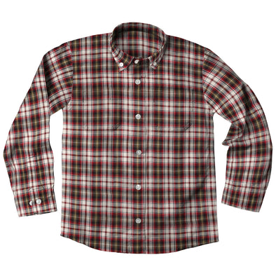Jack Thomas Plaid Shirt-Maroon
