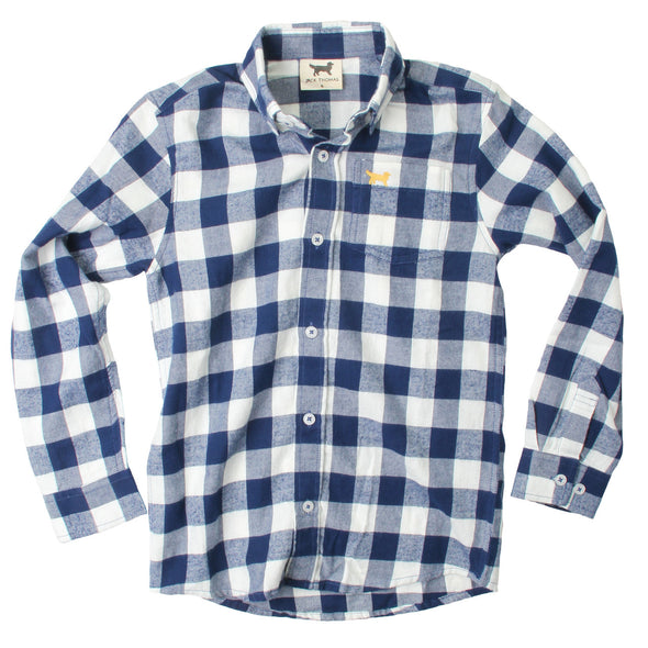 Jack Thomas Plaid Shirt-Navy