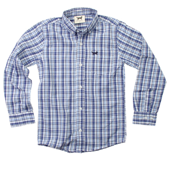 Jack Thomas Boy's Button Down Shirt-Blue Moon