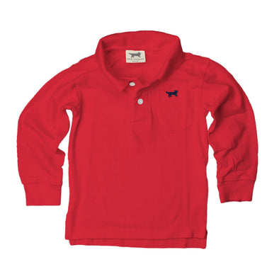 Jack Thomas Boys Long Sleeve Polo-Red