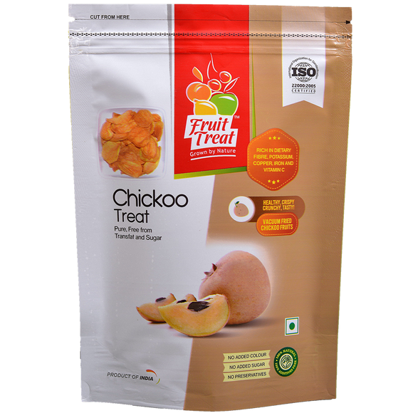 Vacuum Fried (No Oil) Natural Sapota (Chikku) Chips - Fruit Treat India - Healthy & Nutritious Chikku Treat