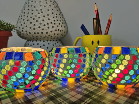Tea Light Holders - Set of 4 Multicolour Circular holders