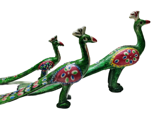 Handmade Wooden Peacocks - Set of 3 Rajasthani Handmade Sculptures