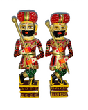 Handmade Rajasthani Chowkidars - Set of 2 wooden Guard Figurine - Perfect for Home Decor