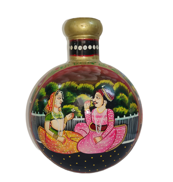 Rajasthani Folk Art - Traditional Hand Painted Home Decor Showpiece Pot