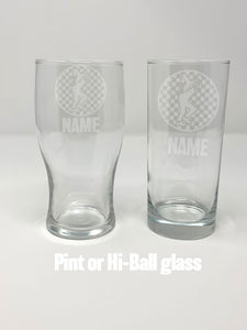 2 Tone themed etched drinking glasses