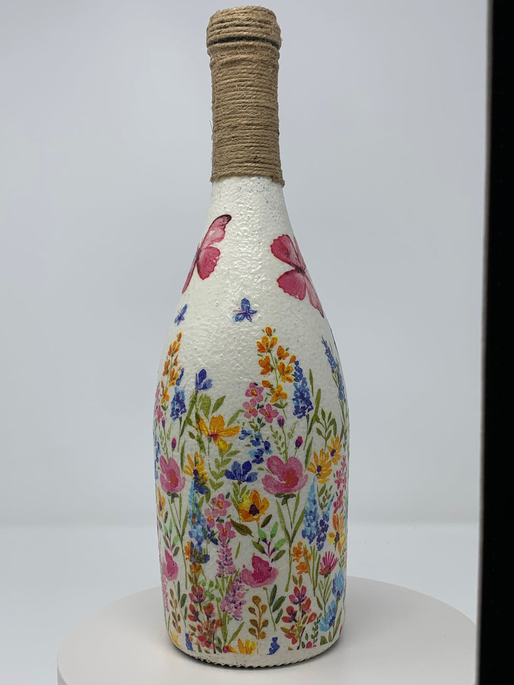 Decorative bottle - Butterfly & flowers scene