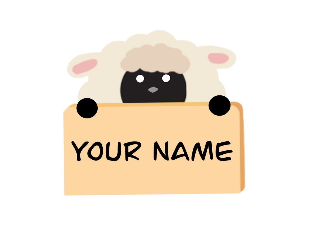 Sheep with nameboard Sticker / Magnet