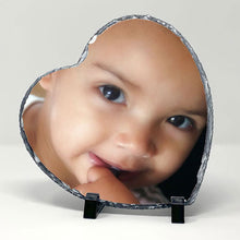 Load image into Gallery viewer, Slate photo display - 20cm x 30cm heart shape Gloss finish