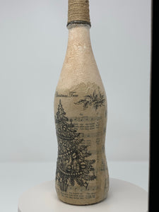 Decoupage bottle - Christmas tree scene